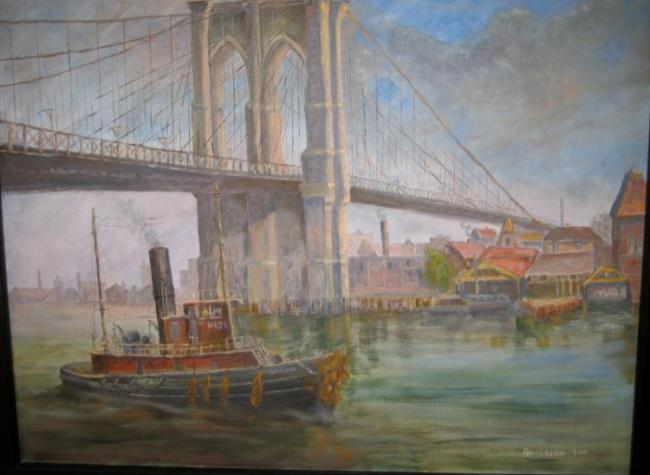 Brooklyn Bridge and Tugboat