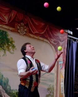 Captain Sharps juggles on the Waterfront Museum